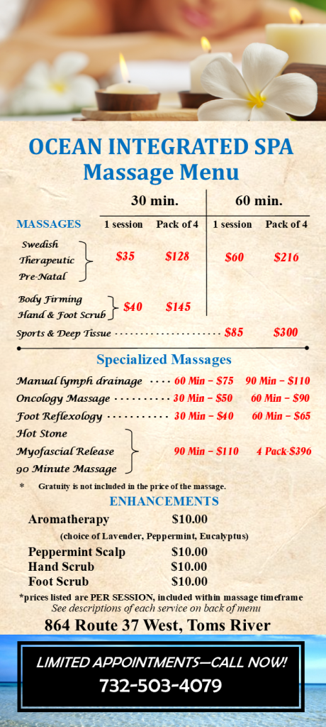 Ocean Integrated Wellness Spa Massage Menu