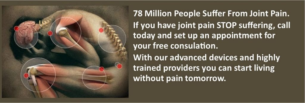 78 Million People Suffer From Join Pain. If you have joint pain STOP suffering, call Ocean Integrated Wellness today and set up an appointment for your consultation. With our advanced devices and highly trained providers you can start living without pain tomorrow.